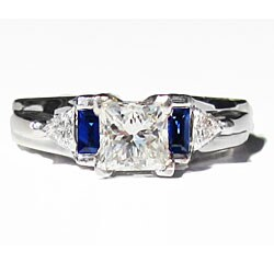 California Girl Jewelry Pre-owned 14k White Gold 1 1/2ct TDW Diamond and Sapphire Estate Ring (H-I, SI1-SI2)