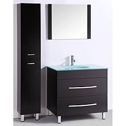 Espresso Tempered Glass 3 Piece Bathroom Vanity Set 36 Inch Overstock 6737532