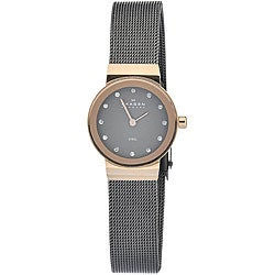 Skagen Women's 358XSRM Black Dial Rose-gold Tone Watch with Stainless Steel Bracelet