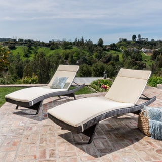 Christopher Knight Home Outdoor Brown Wicker Cushioned Adjustable Chaise Lounge (Set of 2)
