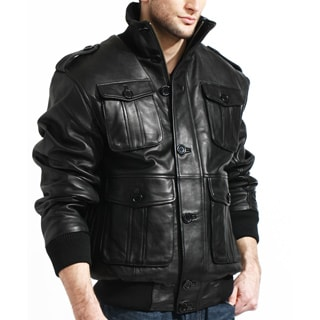 Men's Black Lambskin Leather Bomber Jacket