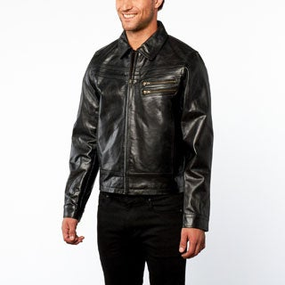 Tanners Avenue Men's Slim Fit Black European Leather Jacket