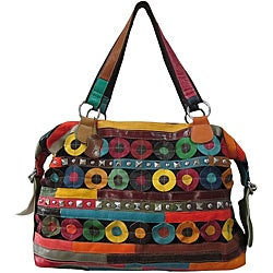 Amerileather Quincy Multicolor Leather Double-handle Tote Bag - Thumbnail 0