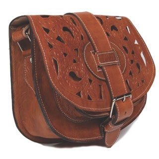 Handmade Large Tan Henna Cut Leather Saddle Bag (Morocco)