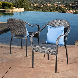 Sunset Outdoor Tight Weave Wicker Chair (Set Of 2) By Christopher Knight  Home