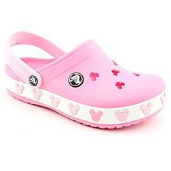 shop crocs girl's crocband mickey ii kids pink casual