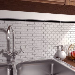 SomerTile 11.75x11.75-inch Victorian Subway Matte White Porcelain Mosaic Floor and Wall Tile (Case o