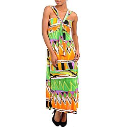 Stanzino Women's Orange/ Green Printed Maxi Dress