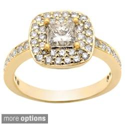 Auriya 14k Gold 1-1/2ct TDW Princess Diamond Halo Engagement Ring (G-H, I1-I2)