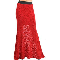 Stanzino Women's Red Lace Maxi Skirt - Free Shipping On Orders ...
