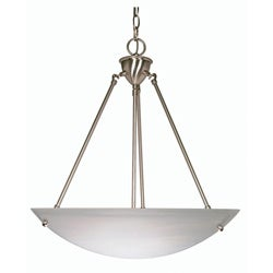 3 Light 23 inch Pendant Brushed Nickel Finish with Alabaster Bowl Glass