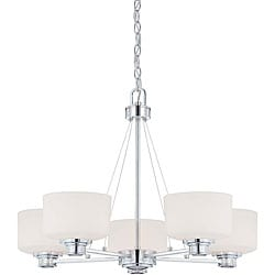 Soho - 5 Light Chandelier - Polished Chrome Finish with Satin White Glass