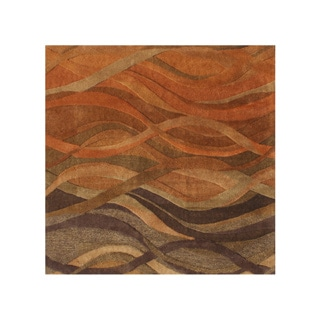 Alliyah Handmade Rust/ Caramel/ Autumn Leaf/ Chipmunk New Zealand Blend Wool Rug (10' x 10')