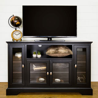 Highboy Style Black Wood 52-inch TV Stand