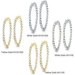 14k Gold 8ct TDW Diamond Hoop Earrings