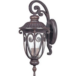 Corniche Arm Down 3-light Burlwood Wall Sconce