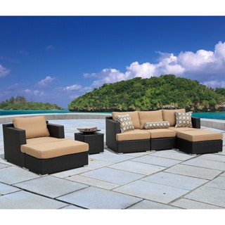 Corvus Morgan Outdoor 7-piece Brown Wicker Sectional Sofa Set