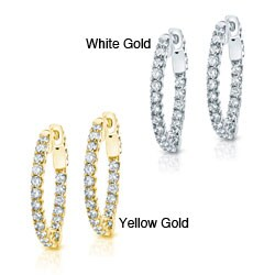 14k Gold 1ct TDW Diamond Trellis-style Hoop Earrings