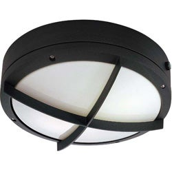 Hudson 2 Light Cross Grill Matte Black w/ White Lexan Round Wall/Ceiling Fixture