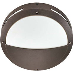 Hudson 2 Light Round Hooded Architectural Bronze With White Lexan Wall/Ceiling Fixture