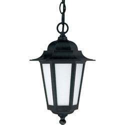 Cornerstone Textured Black with Satin White Glass 1-light Hanging Lantern