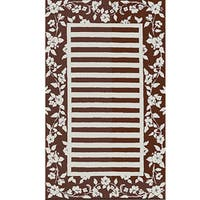 Silk Rose Stripe Wool Rug (5.3' x 8.3')