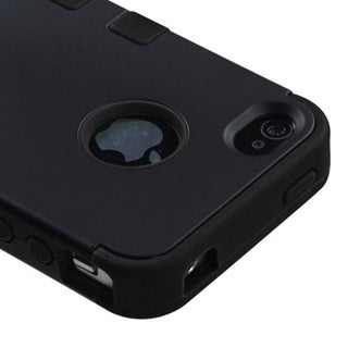 Insten Tuff Dual Layer Hybrid Rubberized Hard PC/ Silicone Phone Case for Apple iPhone 4/ 4S (3 options available)