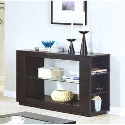 Cappuccino Veneer Sofa Table with Glass Insert & Shelf