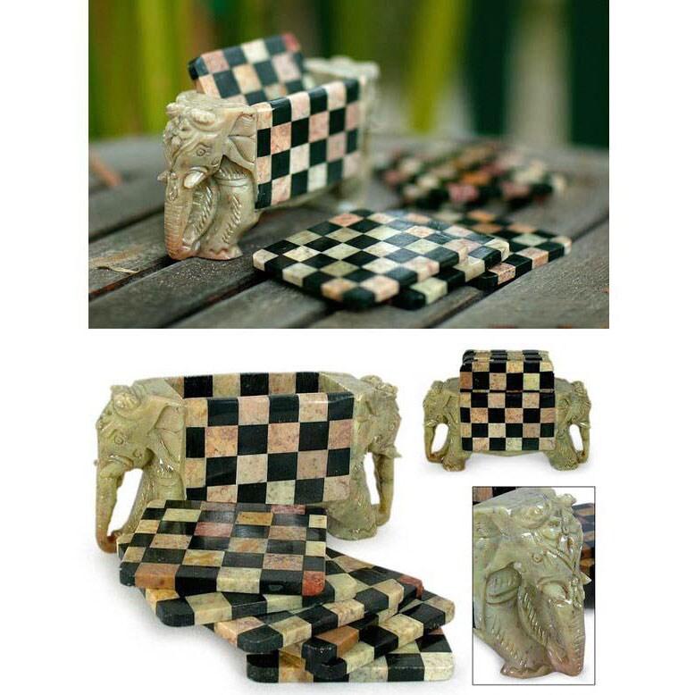 Set of 6 Handcrafted Soapstone 'Elephant Chess' Coasters (India)