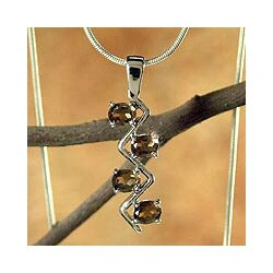 Sterling Silver 'Flash' Smoky Quartz Necklace (India)