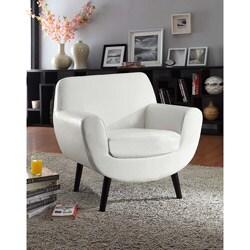 Shop Retro Club Chair In White Vinyl With Black Legs
