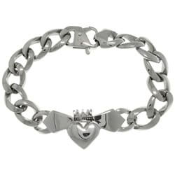 Carolina Glamour Collection Stainless Steel Celtic Claddagh Centerpiece Link Bracelet
