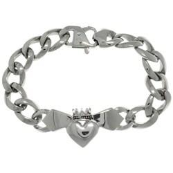 Carolina Glamour Collection Stainless Steel Celtic Claddagh Centerpiece Link Bracelet