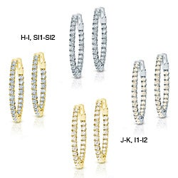 14k Gold 2 1/2ct TDW Diamond Hoop Earrings (H-I/J-K, SI1-SI2/I1-I2)