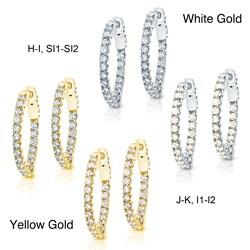 14k Gold 2ct TDW Trellis Diamond Hoop Earrings