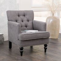 Handy Living Jean Dove Grey Linen Arm Chair - Free Shipping Today ...