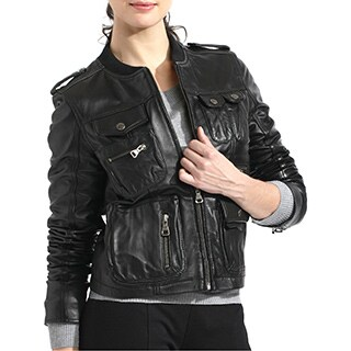 Women's Lambskin Leather Bomber Jacket