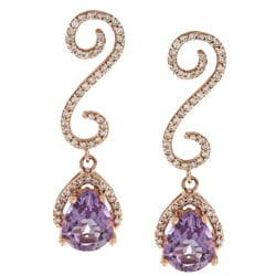 14k Rose Gold Amethyst and 3/8ct TDW Diamond Earrings (I-J, I1-I2)