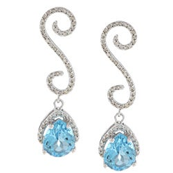 14k White Gold Blue Topaz and 3/8ct TDW Diamond Earrings (I-J, I1-I2)