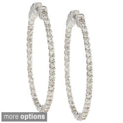 Auriya 14k Gold 2 1/2ct TDW Diamond Oval Trellis-style Hoop Earrings (J-K, I1-I2)
