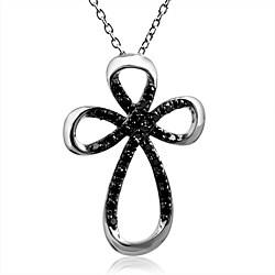 Bridal Symphony Sterling Silver 1/3ct TDW Black Diamond Cross Necklace