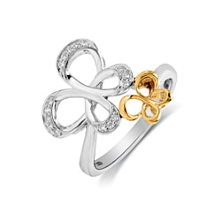 Bridal Symphony Sterling Silver with 10k Yellow Gold 1/10ct Diamond Accent Butterfly Ring (I-J, I2-I3)