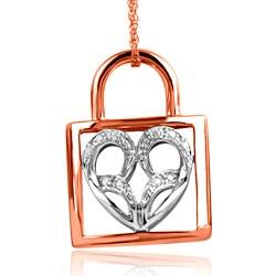 Bridal Symphony 10k Rose Gold Diamond Accent Heart Padlock Necklace