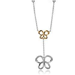 Bridal Symphony 10k Gold/Silver 1/10ct TDW Diamond Butterfly Station Necklace