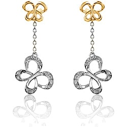 Sterling Silver with 10k Yellow Gold Chain Butterfly 1/10CTtw Diamond Accent Earring (I-J, I2-I3)