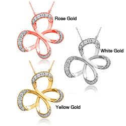 Bridal Symphony 10k Gold Diamond Accent Butterfly Necklace