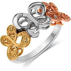 Bridal Symphony 10k Gold/Silver Diamond Accent Butterfly Ring