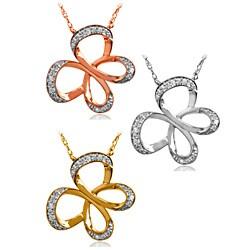 Bridal Symphony 10k Gold Diamond Butterfly Necklace