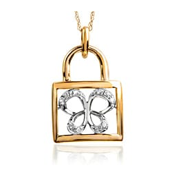 Bridal Symphony 10k Yellow Gold Diamond Accent Butterfly Padlock Necklace