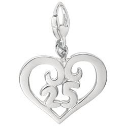 Sterling Silver 25 Year Celebration Heart Charm